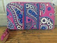 Vera Bradley BOYSENBERRY Purple Paisley Zip Around Organizer Wallet Clutch