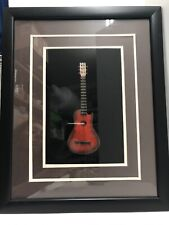 "Acoustic Guitar Shadow Box Miniature 3-D Handcrafted Matted Framed 16""x12"" Red"