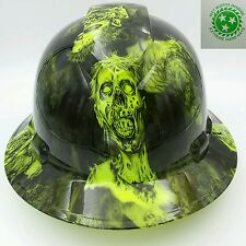 FULL BRIM Hard Hat custom hydro dipped , OSHA approved BIO HAZARD ZOMBIE NEW !!