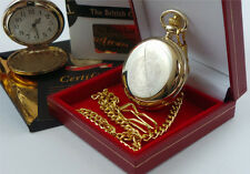 ROYAL ENGINEERS Crested 24K GOLD Clad Military POCKET WATCH Luxury Gift Case