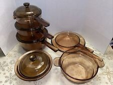 New Listing11 Pc Visions Visionware Corning Ware Amber Glass Cookware - Saucepans Skillets