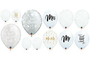 """Qualatex 11"""" Wedding Latex Balloons Just Married Assorted Reception Decorations"""