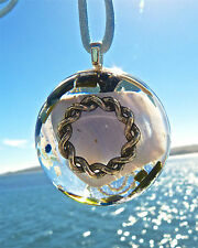 BLUE LACE AGATE Positive Energy Orgone Dome Pendant with Schorl and Amazonite.