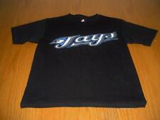 NEW WT MLB TORONTO BLUE JAYS BLACK T-SHIRT YOUTH BOYS M 7/8 MAJESTIC COTTON