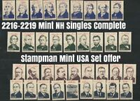 2216 - 2219 Presidents Set of 36 MINT NH SINGLES 1986 Ameripex Complete USA
