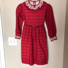VINTAGE BRYAN Lace Christmas Plaid Ruffle Dress 6X