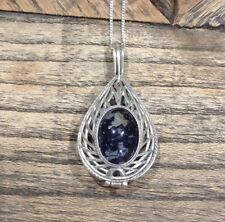 Solid Silver Derbyshire Blue John Open Work Locket Pendant And Chain J1216