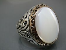 Turkish Handmade Jewelry 925 Sterling Silver Pearl Stone Men's Ring Sz 10