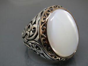 Turkish Handmade Jewelry 925 Sterling Silver Pearl Stone Men Ring Sz 10