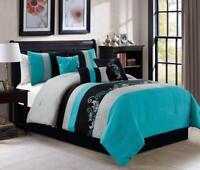 New Elegant Teal Grey Black Floral Embroidered 7pcs Cal King Queen Comforter Set