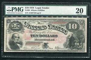 """FR. 99 1878 $10 """"JACKASS"""" LEGAL TENDER UNITED STATES NOTE PMG VERY FINE-20"""