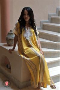 Handmade Moroccan yellow kaftan with multi coloured stripes