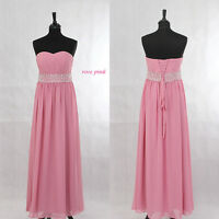 Rose Pink Chiffon Beaded Evening Ball Gown Party Prom Bridesmaid Dress SZ 8-22