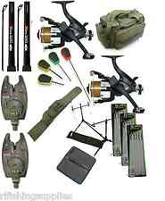 COMPLETE CARP FISHING SET UP RODS REELS ALARMS ROD HOLDALL BAG HAIR RIGS NEEDLES