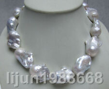 HUGE 20-30MM SOUTH SEA GENUINE WHITE BAROQUE PEARL NECKLACE 18""
