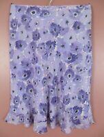 SK15885- ANN TAYLOR Women's Lightweight Silk A-Line Skirt Multicolor Floral 12