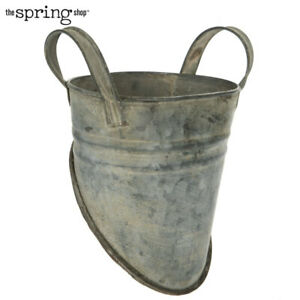 Distressed Metal Wall Bucket . Unique Vintage Style.