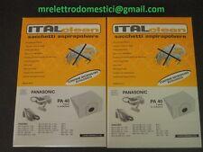 2 SCATOLE SACCHI ASPIRAPOLVERE ADATTABILI PANASONIC CON MICROFILTRO MCE60 MCE70