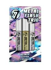 W7 Metal Flash Trio Glitter Eye Liner Set Iridescent White Silver Gold