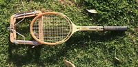 Vintage Spalding Wooden Racket Racquet w Full Wooden Head Cover Old Made in OZ