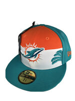 Miami Dolphins  NFL ☀️🌴🐬, Authentic New Era 59FIFTY Hat 7 3/8, Aqua/Orange