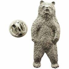 Brown Bear Standing Pin ~ Antiqued Pewter ~ Lapel Pin