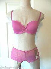 Chantelle RIVE GAUCHE Rose Berry Pink 3086 T-Shirt Bra 30D & 3084 Boyshort XS