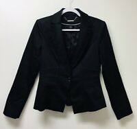White House Black Market Black Tuxedo Style Woman's Jacket One Button Lined SZ 6