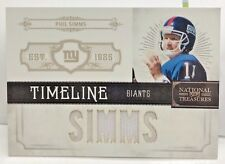 "Phil Simms 2011 National Treasures Timeline ""SIMMS"" GU Jersey #'d 24/99 - GIANTS"