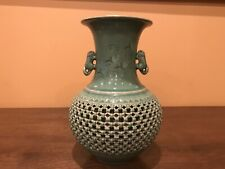 ANTIQUE KOREAN GREEN CELADON PIERCED GLAZED BASKET WEAVE POTTERY VASE SIGNED 12""