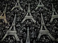 "Unused Michael Miller FABRIC 100% Cotton Eiffel Tower Black & White, 35""L x 20""W"