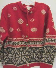 Vintage EDDIE BAUER Red & Gray WOOL & ALPACA NORDIC Design CARDIGAN Sweater Sz M