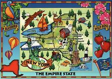 New York, The Empire State, NY City, West Point, Niagara Falls --- Map Postcard