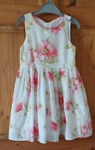 Next Girls 4 Yrs Floral Sleeveless Dress Fit & Gathered Flare Lined