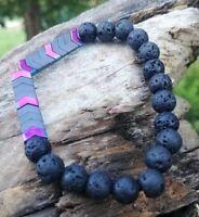 Anxiety Arrow Hematite Lava Bracelet Healing Aromatherapy Mens Women CUSTOM Made