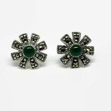 925 Sterling Silver Victorian Flower Stud Earrings 1 Ct Green Onyx & Marcasite
