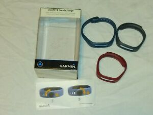 3- Garmin VivoFit 2 Bands Size Large Blue Gray Burgundy Fitness Band Replacement