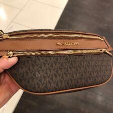 Michael Kors Kenly Women Medium Waist Fanny Pack Sport Bag Leather Brown Gold