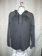 Long Sleeve 1/4 button light Men's Hoodie size LG Hawk Charcoal Black Striped NW