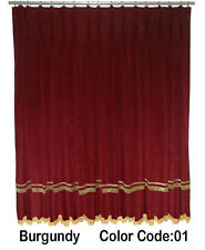 Saaria Velvet Pinch Pleated Drapes Curtain With Gold Stripe & Fringe 7'W x 8'H