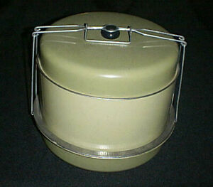 Vintage J L Clark 3-Tier ~Triple Decker~ Metal Cake / Pie/ Food Carrier & Handle