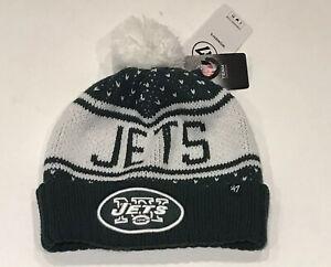 47 Brand Womens New York Jets Pom Pom Cuffed Winter Hat Knit Beanie NFL