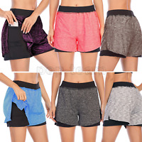 Women Elastic Wasit Athletic Running Yoga 2 in 1 Shorts Double Layer with Pocket