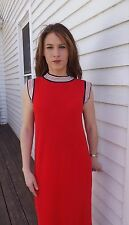 Red Dress Sleeveless Vintage 60s Acrylic Nylon Knit Sweater Midi 11