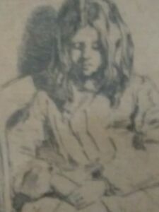 vtg orig James McNeill Whistler Etching Annie Seated signed plate listed artist
