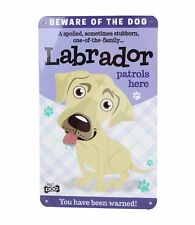 Beware of the Yellow Cream Labrador Funny Metal Wall Sign Plaque Dog Lovers Gift