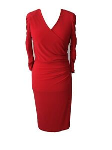Red Dress By Frank Lyman Design Size 12 Ruched Detail On Sleeves And Waist