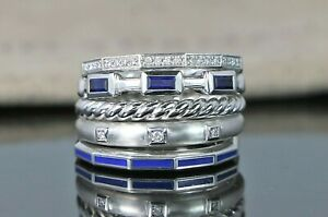 $4,000 David Yurman 18K White Gold Sapphire Blue Enamel Diamond Stax Ring Band