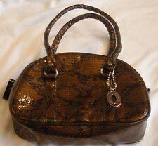 Steve Madden Copper faux Snakeskin Cosmetic Bag Makeup Zipper Vinyl  Handles
