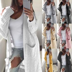 Damen Pullover Sweater Cardigan Lange Strickjacke Frauen Longshirt Mantel DE
